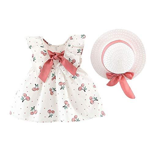 Julhold Peuter Baby Kids Meisjes Leuke Elegante Mouwloos Cherry Dot Prinses Katoen Slanke Jurken Boog Hoed Outfits 0-3 Jaar
