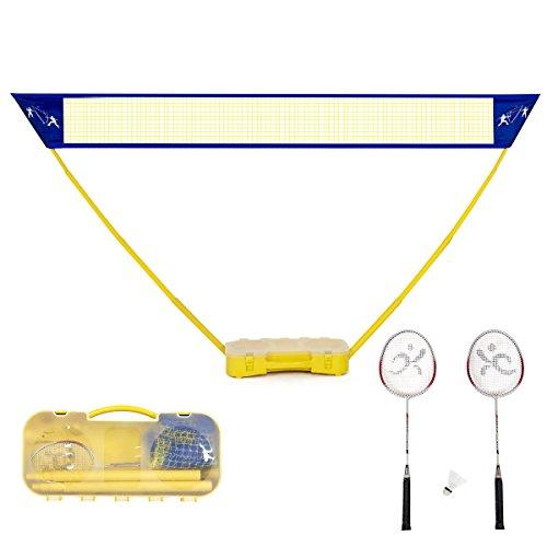 Goplus Portable Badminton Set Outdoor Folding Adjustable Badminton Net 10Ft w/Stand, Carry Box (2 Player)