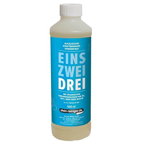 stein-reiniger.de: DREI - Alkalischer Reiniger 500 ml Konzentrat enfernt Öl, Fett, Seife oder Wachs uvm.