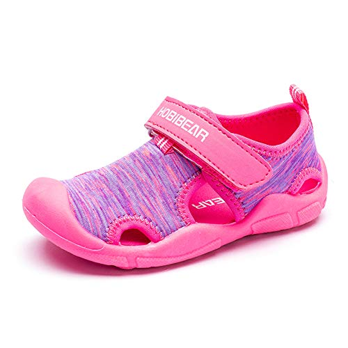 Boys Girls Water Shoes Quick Dry Closed-Toe Sport Sandals for Beach Swim Outdoor (Toddler/Little Kid) (Pink, numeric_6)