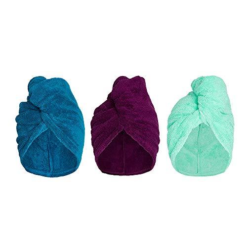 Turbie Twist 3-Pack Cotton Hair Towel Wrap for Women and Men, 10 inch X 24.5 inch, Super Absorbent Terry Cloth Hair Turban (3 Pack - Plum, Teal, Aqua)