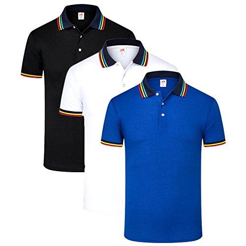 LEOCLOTHO Polo Uomo Manica Corta Cotone Maglietta Fitness Tennis Golf Colletto a Righe T-Shirt Set da 3/4
