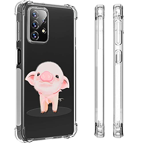 HUIYCUU for Samsung Galaxy A32 5G 6.5' Cute Case for Girls Women, Shockproof Anti-Slip Pink Glossy Clear with Design Animal Print Pattern Slim Crystal Soft Bumper Cover for Samsung Galaxy A32, Pig