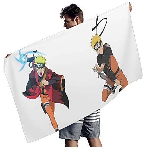 Generic Branded Uzumaki Naruto - Toalla de playa de gran tamaño, secado rápido, toalla deportiva, no encogimiento para niños y adultos, color blanco 150 x 75 cm