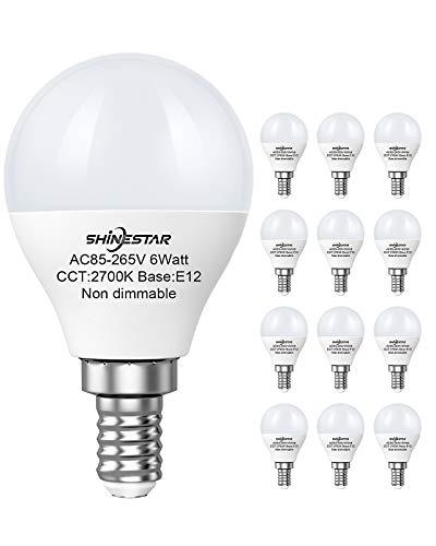 SHINESTAR 12-Pack Ceiling Fan Light Bulbs 120V 60W Equivalent, Warm White 2700K, E12 Candelabra Base Small LED Light Bulb, A15 Shape Round Bulb, Non-dimmable
