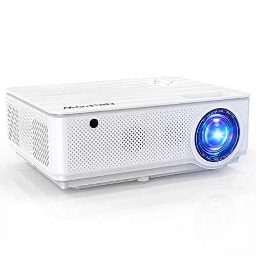 Nic pow Outdoor Video Projector, 1080P Portable Home Theater Native Projector with ±40° Keystone Correction, 7200 L & 8000:1 Compatible with 2HDMI 2 USB TV Stick PS4 VGA AV