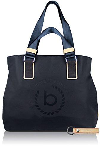 Bugatti Lido Damen Shopper Frauen Handtasche Nylon mit RFID Fach, 39 x 17 x 34 cm, Blau