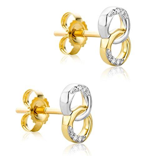Orovi Orecchini Donna Piccoli a Lobo in Oro Giallo e Oro Bianco con Diamanti Taglio Brillante Oro 9 Kt / 375