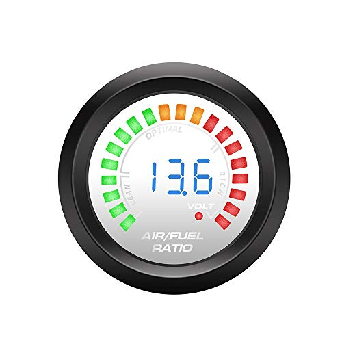 CLJ-LJ 52mm LED 2 in 1 Tachometer + Spannungsanzeige RPM Meter Boost Gauge Balken PSI/Vakuum/Wasser Temp/Öle Temp/Öldruck/Voltmeter Auto (Color : Air Fuel Ratio)
