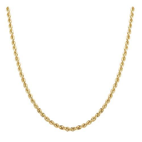 Cadena de oro macizo de 14 quilates para hombre, 2,5 mm, 45,7 cm