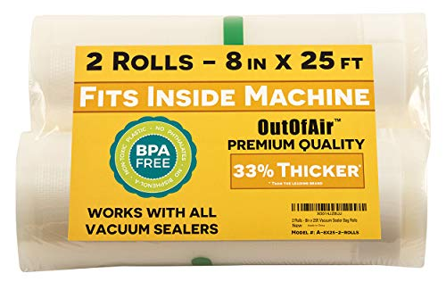Buy 8 x 25' Rolls (Fits Inside Machine) - Pack of 2 (50 feet total) - OutOfAir Vacuum Sealer Rolls....