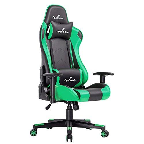IODOOS ゲーミングチェア gaming chair 無段階約180度リクライニング パソコンチェア ゲーム用チェア ハイバック 柔らかいPUレザー ヘッドレスト付き ランバーサポート付き 事務用椅子 上下昇降機能