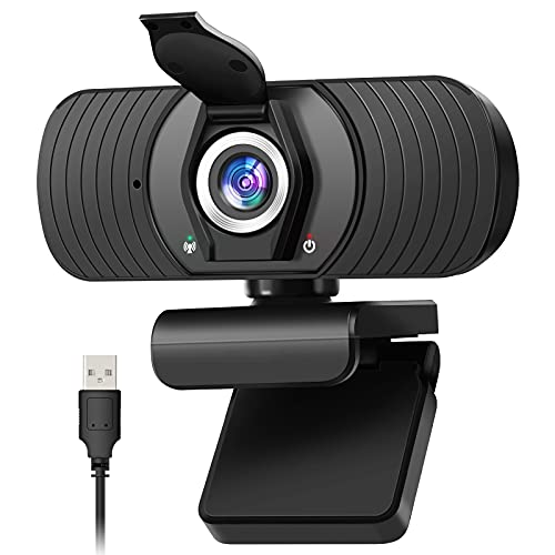 Webcam con Micrófono Cámara Web 1080P HD PC Cámara de Ordenador y Cubierta de privacidad Cámara para Skype FaceTime Youtube Estudio en Línea Llamada PC para Juegos Ordenador Portátil
