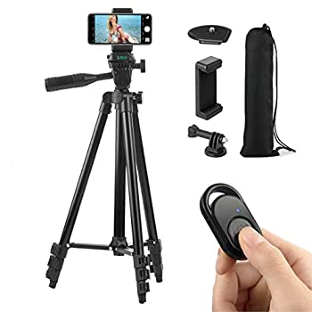 Polarduck Camera Mount Phone Tripod Stand  51-Inch 130cm Lightweight Travel Tripod for iPhone with Remote & Phone Holder & GoPro Adapter Compatible with iPhone & Android Cell Phone   Matte Black