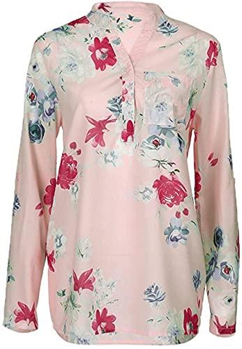 HONGJ Camisa de la blusa de la blusa de la manga corta del bolsillo de la impresión de las mujeres, rosa A, M