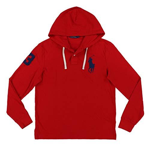 Ralph Lauren Mens Big Pony Mesh Knit Hooded Tee (Medium, Red)