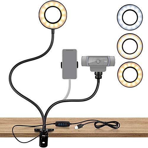 Webcam Lighting Stand for Live Steaming, BEJOY Selfie Ring Light with Webcam Mount and Phone Holder, 3-Light Modes, for Logitech C925e, C922x, C930e,C922,C930,C920,C615,Brio 4K (Black)
