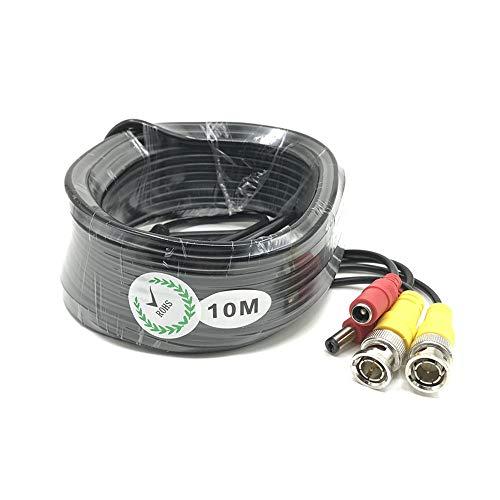 BW 10M / 32.8 Feet BNC Video Power Cable For CCTV Camera DVR Security System (10M), [Importado de UK]