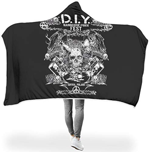 NC83 vleermuisdeken SCHÄDEL thema print sherpa zacht warme deken met capuchon - donker geschikt voor oversized gebruik