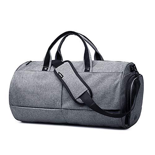 HHH Bolsa de Gimnasia Cilíndrica Bolsa de Viaje Corto con Compartimento para Zapatos Impermeable y Duradera para Hombres/Mujeres Travel Bag & Duffel Bag Bolsa Deporte,Gray