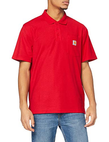 Carhartt Herren Contractor'S Work Pocket Polo Shirt, Red, M