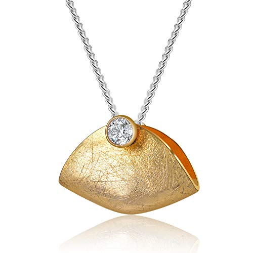 Lotus Fun S925 Sterling Silber Anhänger Kreativer Handtaschen-Design-Anhänger für Frauen und Mädchen, Kreativ Beliebt Natürliches Zirkonia Handgemachter Einzigartiger Schmuck (Gold)