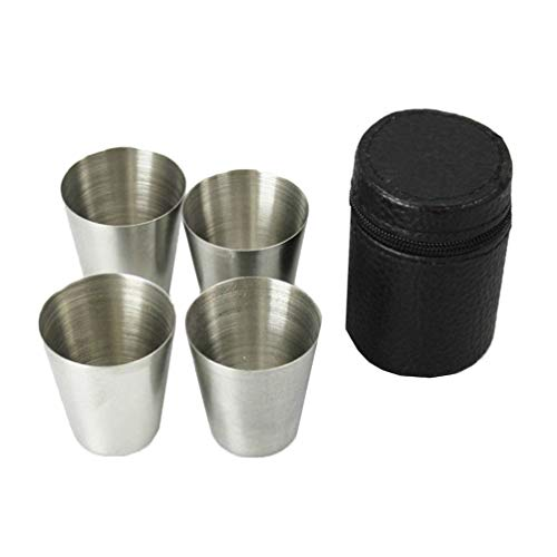KOZOREN Stainless Steel Shot Glass Cup Drinking Mug with Black PU Leather Cover Case 1oz Set of 4