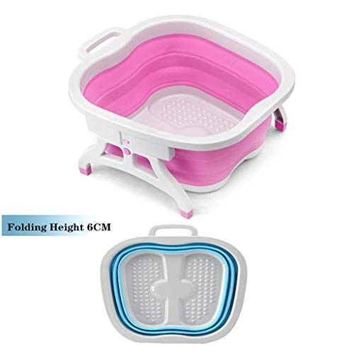 QBYLYF Bain De Pieds Relaxant Pliable Baignoire - Baignoire Vaisselle Pliable - Lavabo Portable - Gain De Place en Plastique Baquet (Color : Pink)