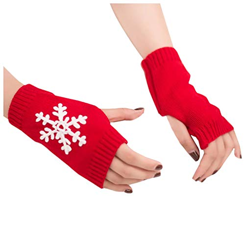 Eaylis Stilvoll Frauen Schneeflocke Strick handschuhe Halten Sie warme Winterhandschuhe Weicher warmer Fäustling Pulswärmer Armwärmer