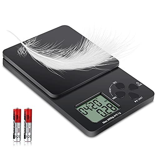 Bascula de Cocina Digital de Precisión 5kg/0.1g,Bascula Cocina de Alimentos Multifuncional,Peso Cocina Electrónica para Café con Temporizador,Función de Tara(Incluye dos baterías AAA)