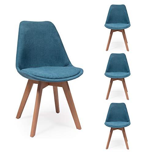 Pack de 4 sillas de Comedor New Day Tela con Asiento pespunteado diseño hexágono (Azul)