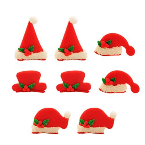 Lurrose 8 Stücke LED Mini Weihnachtsmütze Haarspangen Weihnachten Haarklammern Glitzer Haarclips Haarnadeln Baby Haarschmuck Set für Kinder Mädchen