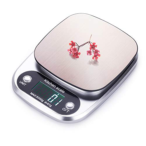 FUUMIY Digitale Küchenwaage, Professionelle Electronische Waage, Digitalwaage mit LCD Display und großer Präzision 0.1g/Max 5kg, mit Tara Function Gramm Waage-(Silbrig)