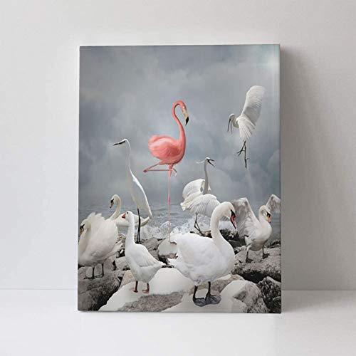 AuHomea Lienzo decorativo para pared, diseño de flamencos y pájaros blancos, impreso en lienzo, para la oficina, el hogar, sin marco, para colgar en la decoración de paredes, 30 x 40 cm