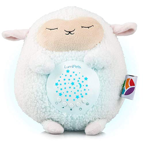 Baby White Noise Machine Music soothers for Sleep: Lumipets Night Light Projector and Sound Machine Baby Soother Lamb Stuffed Animal Baby Gifts