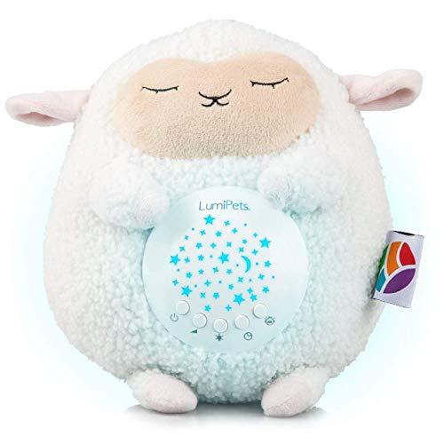LumiPets Lamb Stuffed Animal Night Light Projector & White Noise Machine Baby Shusher