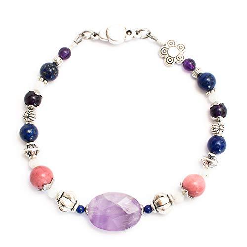 Kimaya Jewellery Women's Handmade Amethyst Rhodochrosite Lapis Lazuli Bracelet ~ Anti-Stress ~