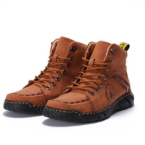Mens Hiking Boots, Comfortable Casual Shoes for Men Hand Stitching Vintage Lace Strings Flat Sole Outdoor Street Walking Sneakers Brown
