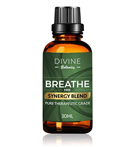 Divine Botanics Aromatherapy Breathe Pure Essential Oil Synergy Blend - for Portable Diffuser Humidifier Inhaler Steamer Vaporizer - Helps Relief Congestion Symptoms - 30 ml