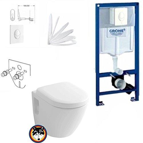 Grohe Vorwandelement mit Drückerplatte, Toto CW762Y Wand WC TORNADO FLUSH, WC Sitz Softclose