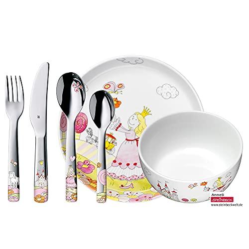 WMF Princesa Anneli - Vajilla para niños 6 piezas, incluye plato, cuenco y cubertería (tenedor, cuchillo de mesa, cuchara y cuchara pequeña) (WMF Kids infantil)