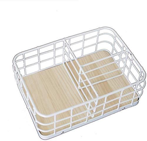 Bagage Desktop Storage Basket Desktop smeedijzer Multifunctionele Living Room Remote Control Cosmetische afwerking box, zwart, wit Cosmetische opbergdoos (Kleur: Zwart) (Color : White)