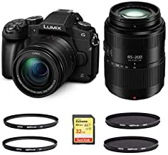 $1145 » Panasonic Lumix DMC-G85 Mirrorless Camera with 12-60mm f/3.5-5.6 Lumix G Power OIS Lens, Black Lumix G Vario 45-200mm f/4-5.6 II Power O.I.S. Lens - with Filters and Card Bundle