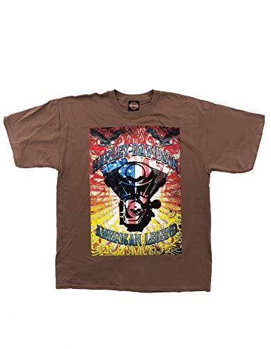 HARLEY-DAVIDSON Original HD T-Shirt für Biker - Retro American Legend Harley T-Shirt für Biker - Rockabillys und den Harley Fahrer - braun, Größe:XL