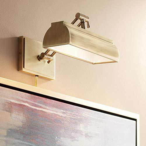"Upton 10"" Wide Plug-in Antique Brass Picture Light - Possini Euro Design"