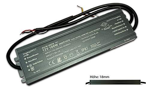 12V DC LED Trafo für Stripes - MR16 GU5.3 LED Halogen, ohne Mindestlast, kein Rauschen, kein Flimmern, Trafo Treiber Netzteil Transformator (dimmbar - 100 Watt - IP67)