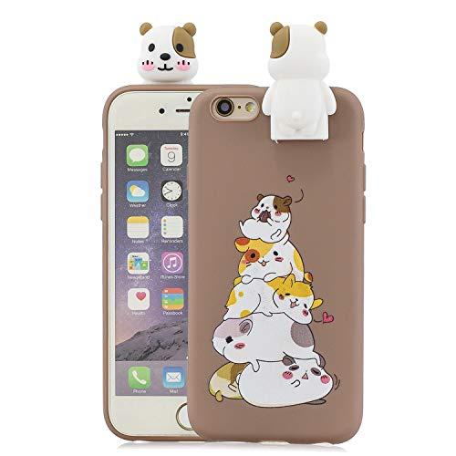 CrazyLemon Hülle für iPhone 6 Plus iPhone 6S Plus, 3D Niedlich Hamster Muster mit Faltbar Stehen Puppe 【Telefon Halter Funktion】 Weich TPU Silikon Handyhülle für iPhone 6 Plus / 6S Plus - Pattern 01