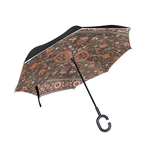 Rode tafelloper, omgekeerd, dubbellaags, winddicht, met handvat in C-vorm, voor regenbuien in de open lucht.