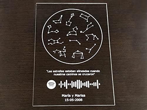Oedim Placa Metacrilato Constelaciones + Musica Spotify Personalizado, Fabricado en Metacrilato 4mm, 19,5 x 28,2cm, Efecto Espejo