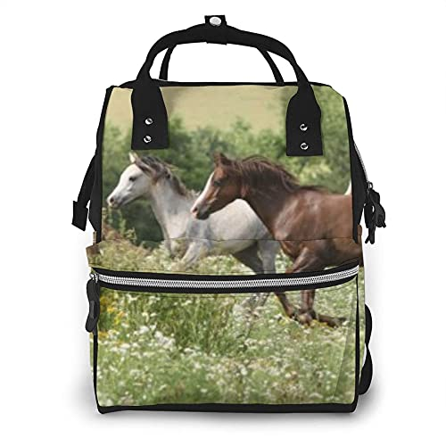 Lote de caballos corriendo en la hierba bolsa de pañales multifunción bolsas para el cuidado del bebé impermeable amplia mochila de viaje abierta para la organización